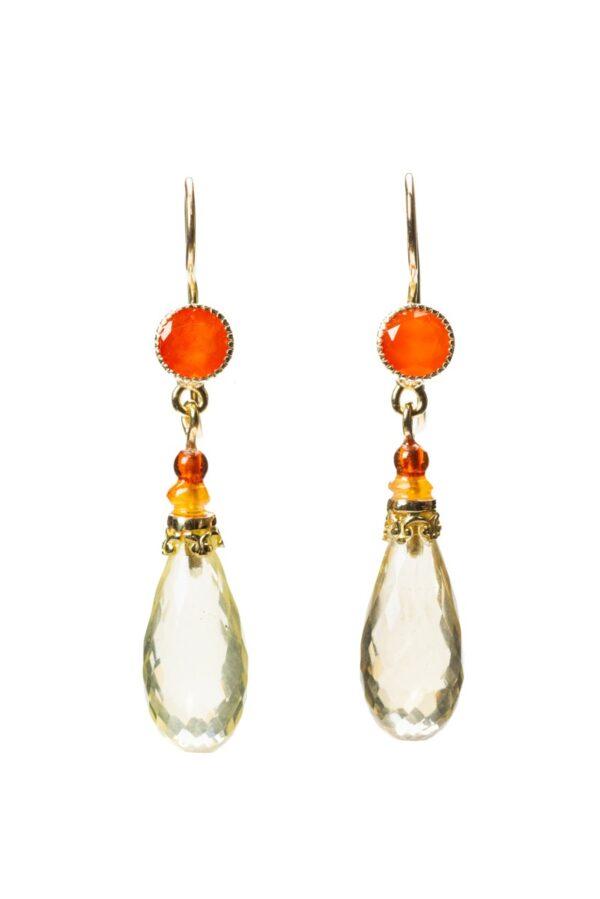 Earrings carnelian, amber, lemon quartz and gold