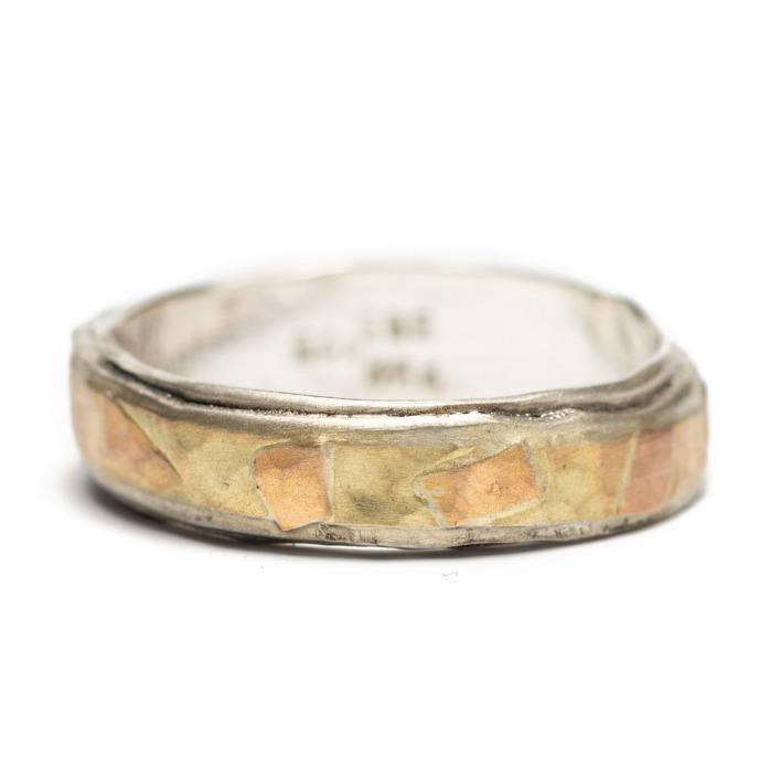 Irregular ring silver, gold, red gold