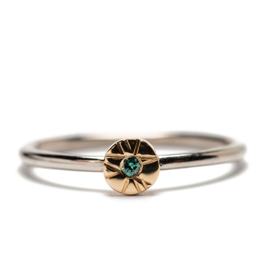 Daisy Ring with Blue Diamond